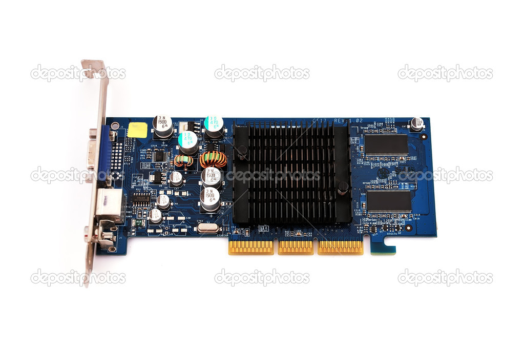 Video card with three outputs on a white background  Stock Photo #4652872