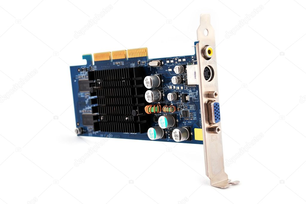 Video card with three outputs on a white background — Stock Photo #4652873