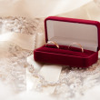 Stock Photo: Two wedding rings in box