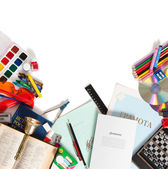 School supplies are scattered on a white sheet — Stock Photo