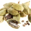 Cardamom seeds on white background — Stok Fotoğraf #4059305