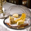 Set of cheese in a bowl for storage on the background of the res - ストック写真