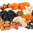 Group of different dried fruits and nuts. - Stock Photo