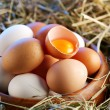 Royalty-Free Stock Photo: Chicken eggs in the straw with half a broken egg in the morning light.