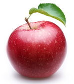Ripe red apple with a leaf. — Stock Photo