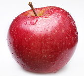 Cleaned red apple with water drops on it. — Stock Photo