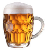 Mug full of fresh beer. File contains a path to cut. — Stock Photo