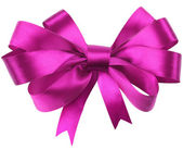 Bow, made of red silk ribbon — Stock Photo