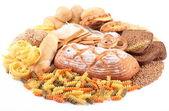 Met bakkerijproducten op een witte achtergrond — Stockfoto