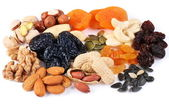 Group of different dried fruits and nuts. — Stock Photo