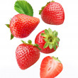 Stock Photo: Falling strawberries.