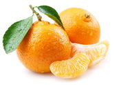 Ripe tangerines with leaves and slices on white background — Stock Photo