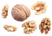 Walnut kernels isolated on a white background. — Stock Photo