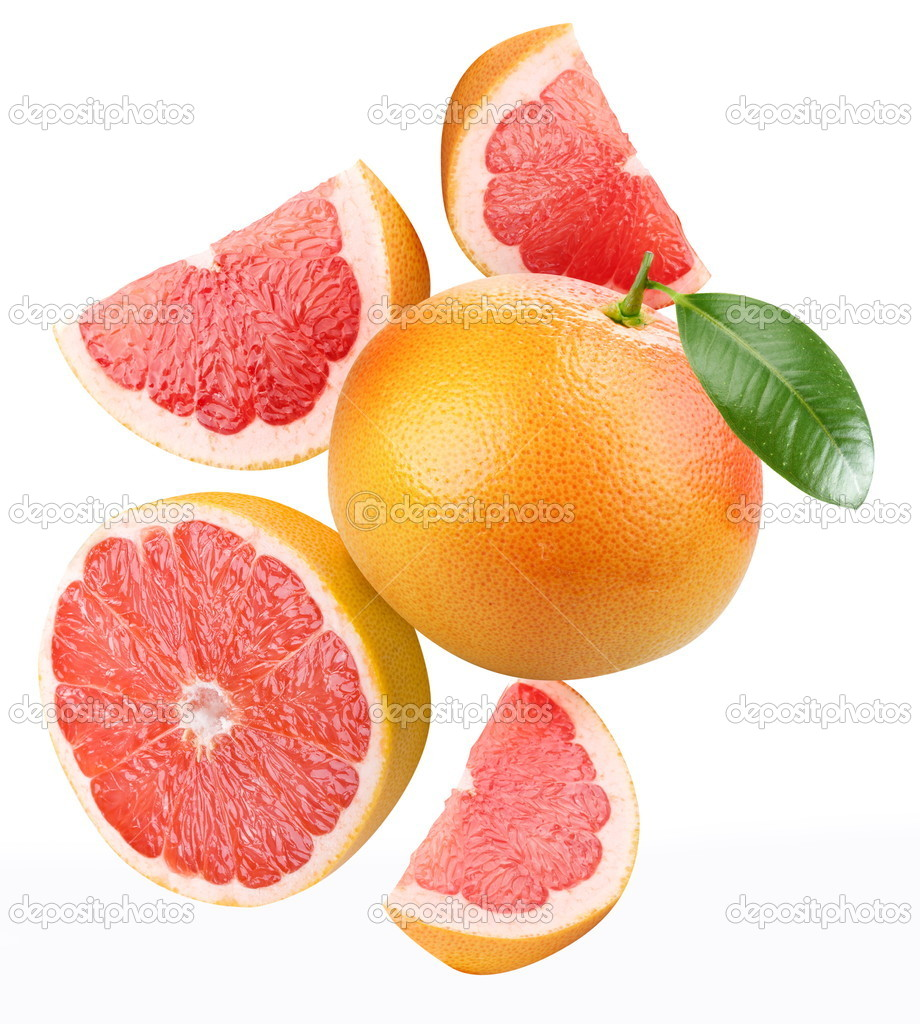 Falling grapefruit and grapefruit slices. Isolated on a white.  Stock Photo #4060238