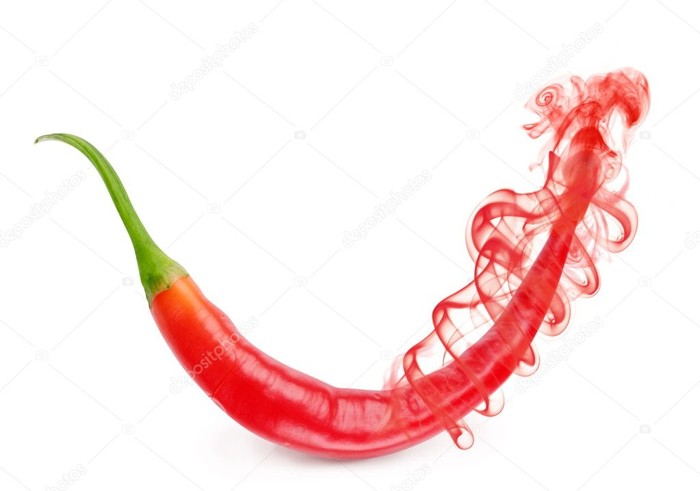 Red chili pepper flavor in the form of smoke on white background  Stock Photo #4060430