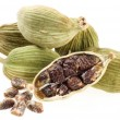 Cardamom seeds on a white background - Foto Stock