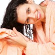 Girl drys hairs with towel. - Stock Photo