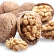 Walnuts  isolated on a white background. - Stock Photo