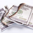 Stock Photo: Burned dollar bills on white background