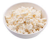 Bowl with fresh cottage cheese. — Stock Photo