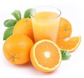 Orange juice och frukt. — Stockfoto