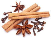 Cloves, anise and cinnamon isolated on white background. — Stock Photo