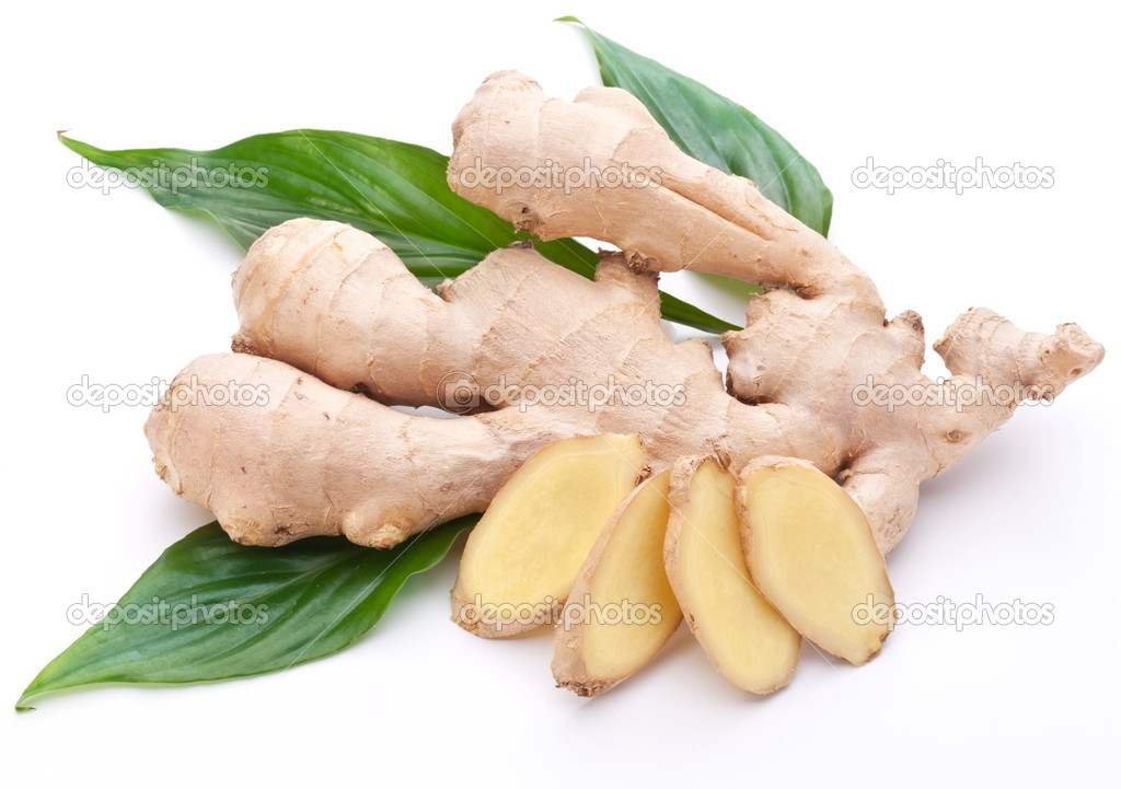 Fresh ginger with leaves isolated on white background. — Stock Photo #4517900
