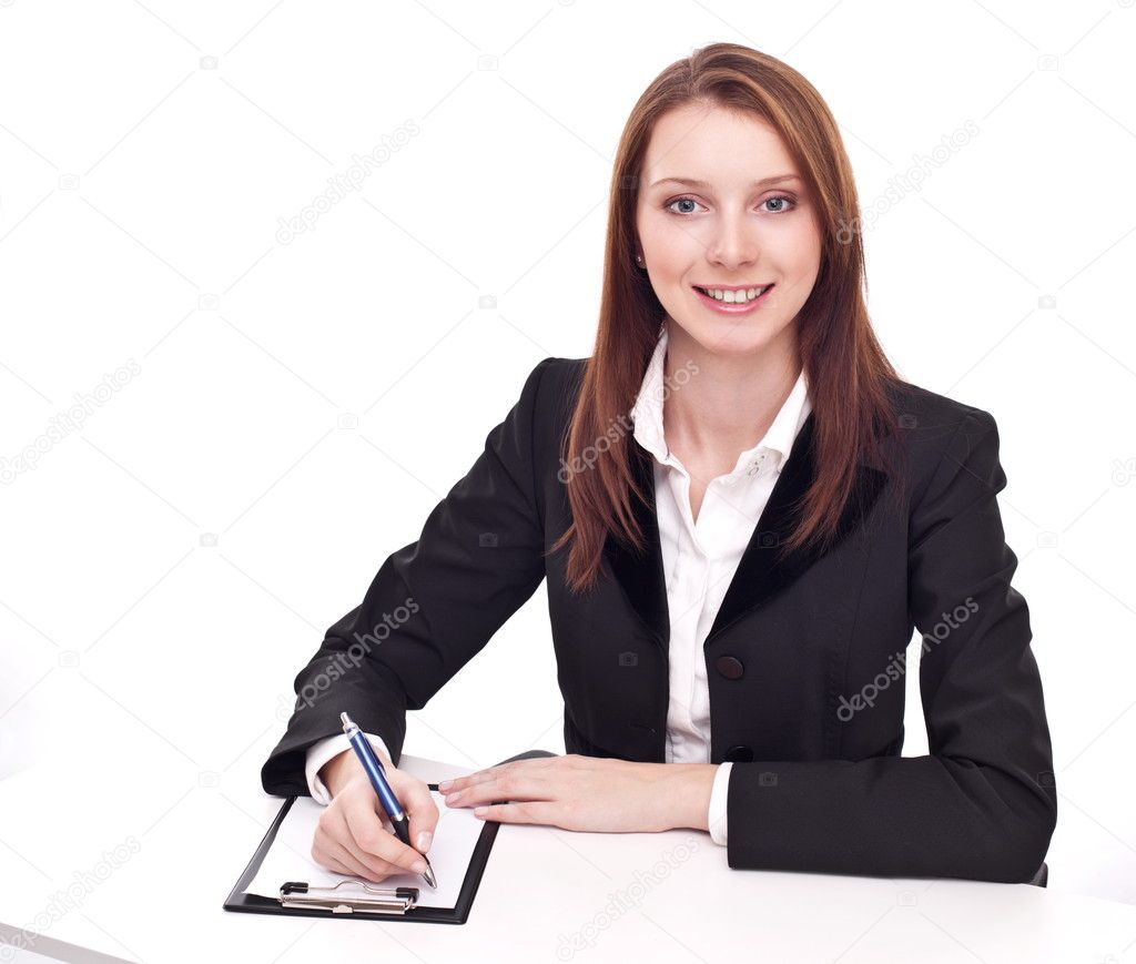 Positive bank official. Young woman sitting at the table. — Stock Photo #4518059