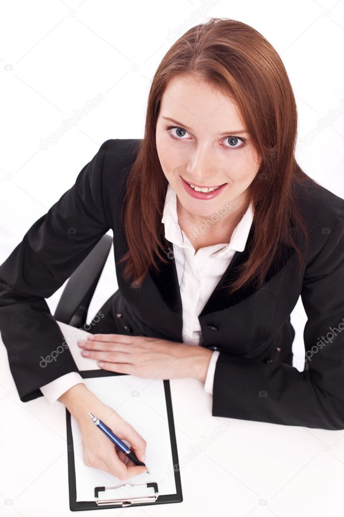 Exams passing. Young woman sitting at the table. — Stock Photo #4518064