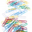 Group of colored paper clips. Isolated on a white background. — Stock Photo