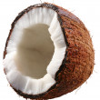 Stock Photo: Half of the coconut is isolated on a white background. File cont