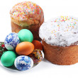 Multi-colored eggs on a plate and cakes. Easter holiday. Isolate — Stock Photo #4638311
