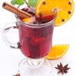 Stock Photo: Glass of mulled wine on white background