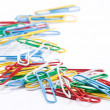 Group of colored paper clips. Isolated on a white background. - Foto Stock