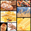 Collage of images of bread and wheat ears. - Stock Photo