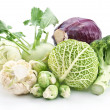 collection of different varieties of cabbage on a white backgrou — Stock Photo