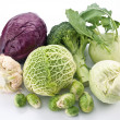 Royalty-Free Stock Photo: Collection of different varieties of cabbage on a white backgrou