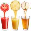 Conceptual image - fresh juice pours from fruits and vegetables - Stockfoto