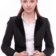 Portrait of positive young business woman. Isolated on a white b — Stock Photo