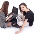 Two teenager with laptop. Modern life. — Stock Photo