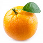 Image of a ripe orange on a white background. — Stock Photo