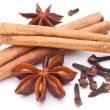 Cloves, anise and cinnamon isolated on white background. — Stock Photo #5007861