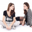 Stock Photo: Two friends talking to each other. The image is isolated on a wh