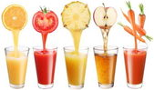 Conceptual image - fresh juice pours from fruits and vegetables — Foto de Stock
