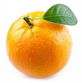Image of a ripe orange on a white background. — Stok fotoğraf