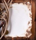 Bild utrymme av gamla papper på en trä yta — Stockfoto