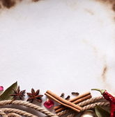 Image space of paper with cooking spices — Stock Photo