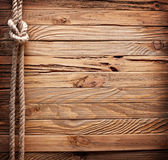 Image of old texture of wooden boards with ship rope. — Stockfoto