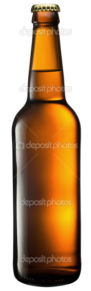 Beer bottle on a white background. With Clipping Path.  Stock Photo #5002699