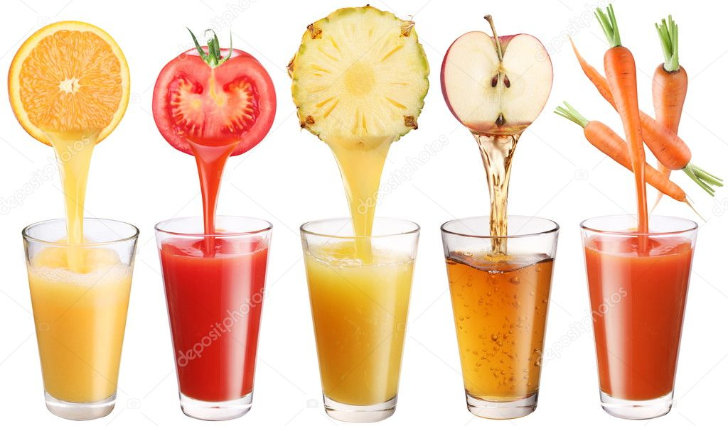 Conceptual image - fresh juice pours from fruits and vegetables in a glass. Photo on a white background.  Foto de Stock   #5005345